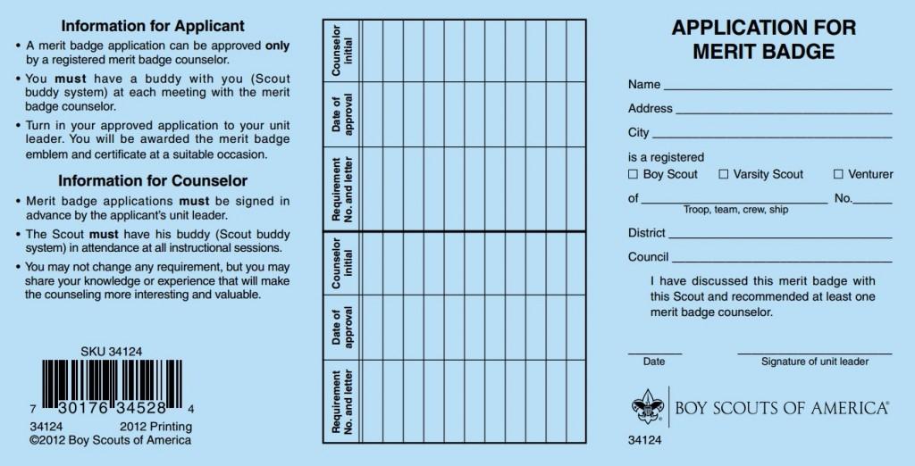Merit Badge Application Card